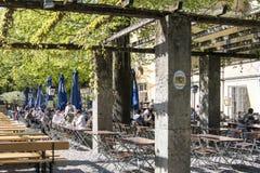 Beer garden Hofbrauhaus in Botanical Park, Munich royalty free stock photos