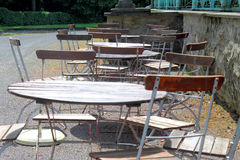 Beer garden without guests, empty tables Royalty Free Stock Image