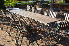 A beer garden without guests Royalty Free Stock Photo