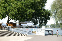 Beer Garden Mainz. Mainz, Germany - August 22, 2015: The bank of the Rhine promenade on the terraces of Fort Malakoff with a beer garden, and guests on August 22 Stock Photography