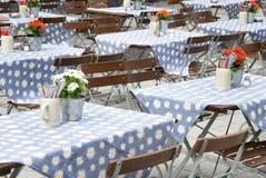 Beer garden munich. Tables in a typical beer garden in munich stock photo