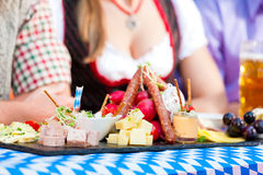 Beer garden restaurant - beer and snacks Royalty Free Stock Photos