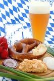 Beer Garden Snack. A traditional Bavarian beer garden snack royalty free stock photo
