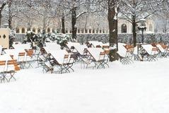 Beer Garden in Winter. Munich Beer Garden after Winter Snow Storm stock images