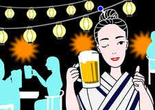 Beer garden. A yukata beauty at Japanese beer garden Stock Photography