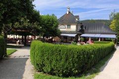 Beer garden in Zell am See Stock Photo