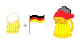 Beer and German flag. Mathematical formula: beer mug plus flag o Stock Image