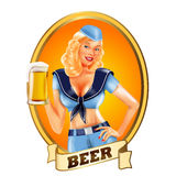 BEER GIRL BANNER BLONDE Stock Photography
