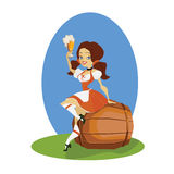 Beer girl in dirndl on keg with pretzel pinup Royalty Free Stock Image