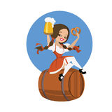 Beer girl in dirndl on keg with pretzel pinup Stock Photo
