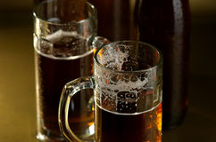 Beer in a glass. Brown bottle of beer on a dark background Stock Images