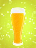 Beer glass. Glass of beer with bubbles and foam on a green background Royalty Free Stock Images