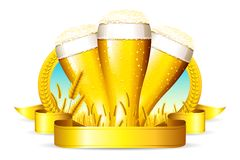 Beer Glass. Illustration of beer glass with ribbon and barley straw Stock Photography