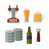 Beer glass and alcohol dispenser vector illustration. Alcohol beer vector transparent glass illustration. Celebration refreshment brewery and alcohol dispenser Stock Image