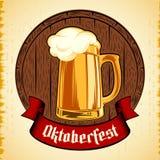 Beer Glass Barrel Foam Oktoberfest Holiday Vintage Background   Royalty Free Stock Image