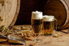 Beer_glass_ barrel_hops_wheat 免版税库存图片