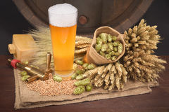 Beer glass with barrel. Beer glass and beer barrel with hops, wheat, grain, barley and malt Stock Photo