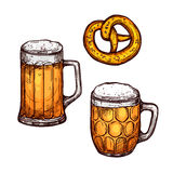 Beer glass and bavarian pretzel isolated sketch. Beer and pretzel isolated sketch. Beer glass mug and tankard with bavarian pretzel. Oktoberfest poster, bar or Stock Images