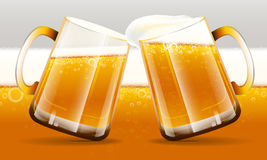 Beer glass and beer background Stock Images