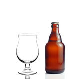 Beer glass and a beer bottle Royalty Free Stock Photos