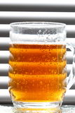 Beer glass blinds sunlight A Royalty Free Stock Photo