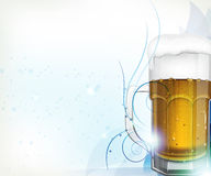Beer glass on blue Royalty Free Stock Photo