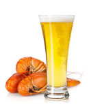 Beer glass and boiled crayfishes Stock Photo