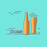 Beer glass bottle flat design background Royalty Free Stock Photo