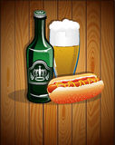 Beer glass, bottle and hot dog Stock Photo