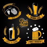 Beer glass bottle label set Stock Photos