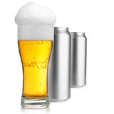 Beer glass and cans Royalty Free Stock Images