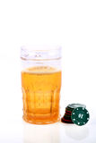 Beer glass and casino chips Royalty Free Stock Photo