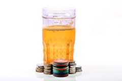 Beer glass and casino chips Stock Photography