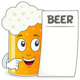 Beer Glass Character Holding Menu. A funny cartoon beer glass character smiling and holding a blank menu, isolated on white background. Eps file available Stock Image