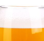 Beer glass close up. Froth. Background. Stock Image