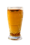 Beer glass with cold beverage taken closeup.Isolated. Royalty Free Stock Photos