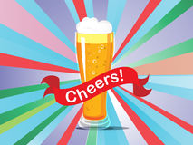 A beer glass on a colorful background. With a cheers label Stock Photo