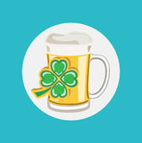 Beer glass cup with four leaf clover flat design Stock Photography