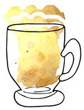 Beer in a glass cup - a sketch and art style. raster illustration for menu design royalty free illustration