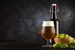 Beer glass on dark background Stock Photo