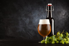 Beer glass on dark background. Beer glass and bottle with malt and hops, dark background Royalty Free Stock Image