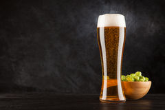 Beer glass on dark background Stock Photo