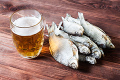 Beer glass and dried fish. Royalty Free Stock Photo