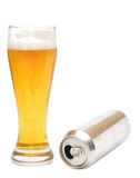 Beer glass and empty can Stock Photo