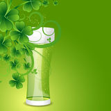 Beer Glass with Floral Shamrock Elements. Conceptual Vector Design of Beer Glass with Floral Shamrock Elements Royalty Free Stock Image