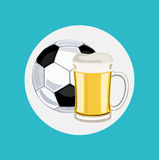 Beer glass and football flat icon Royalty Free Stock Photo