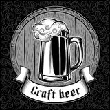 Beer Glass Barrel Foam Craft Beer Background Swirl Stamp Black Royalty Free Stock Photos
