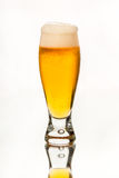 Beer glass full of cold, unfiltered golden ale, with nice head. Royalty Free Stock Photo