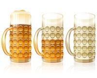 Beer Glass Full Half Empty Set Stock Image