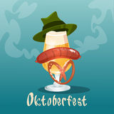Beer Glass With Green Hat Sausage Pretzel Oktoberfest Festival Banner Royalty Free Stock Photo